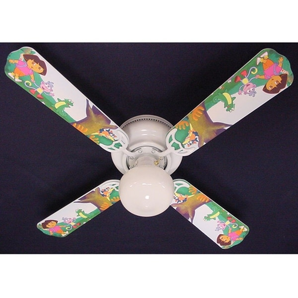 Dora the Explorer and Boots Print Blades 42in Ceiling Fan Light Kit - Multi