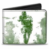 Call Of Duty Modern Warfare Soldier Pose Box Cover White Black Greens Bi Bi-Fold Wallet - One Size Fits most
