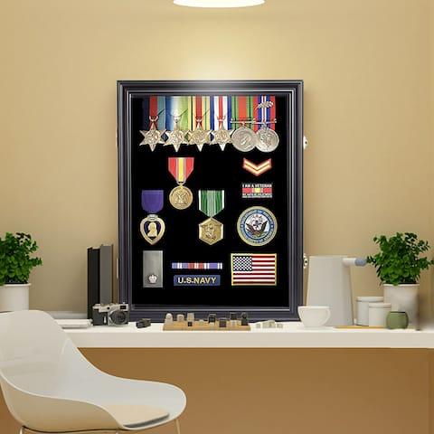 Kinbor Military Challenge Coin Display Case, Lockable Chip Rack Holder Shadow Box w/ Glass Door
