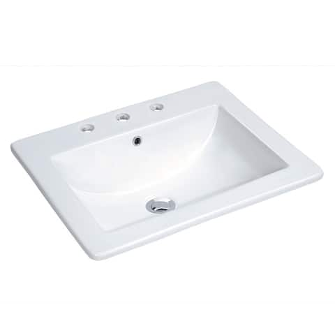 """Miseno MLD-2118-3 21-1/4"""" Drop In Bathroom Sink with 3 Holes Drilled - White"""