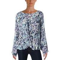 Cupcakes and Cashmere Womens Lara Peplum Top Floral Print Long Sleeves