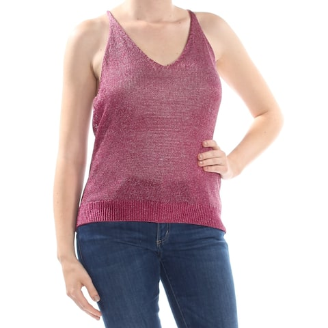 GUESS Womens Purple Metallic Knit Sleeveless Top Plus Size: XL