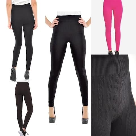 5-Pack Women's Cable Knit Fleece-Lined Seamless Leggings