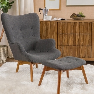 Link to Hariata Mid-century Wingback Fabric Chair/Ottoman Set by Christopher Knight Home Similar Items in Living Room Chairs