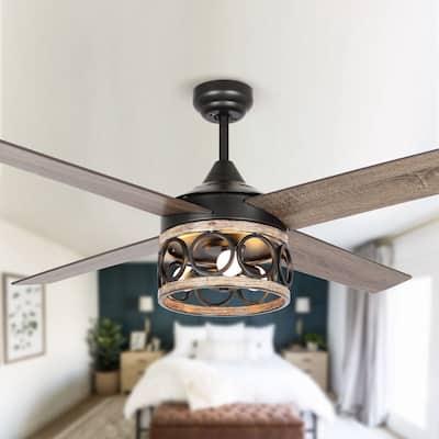 52-in Farmhouse 3-Light Hood Design 4-Blade Ceiling Fan