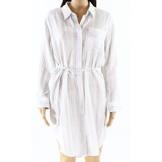 Two By Vince Camuto NEW White Womens Size Small S Belted Shirt Dress