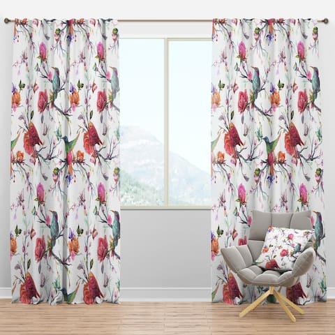 Designart 'Vintage Pattern: Bird, Flowers, Leaves' Farmhouse Blackout Curtain Panel