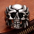 Vienna Jewelry Fire Skull Emblem Stainless Steel Ring - Thumbnail 2