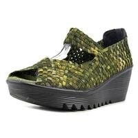 Bernie Mev. Hallie Women  Open Toe Canvas Green Wedge Sandal
