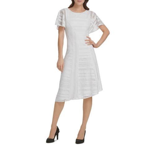Donna Karan Womens Party Dress Lace Flutter Sleeve - Ivory