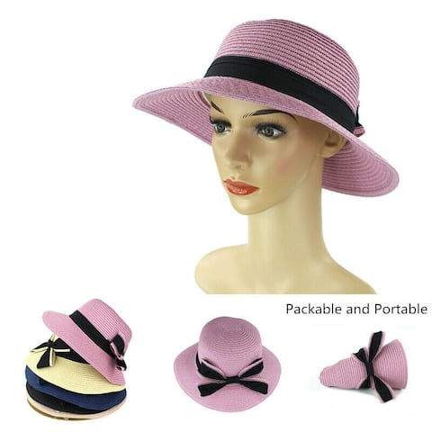 dbc3004e Women Straw Hats Sun Hats Summer Hats Packable Floppy with Bow