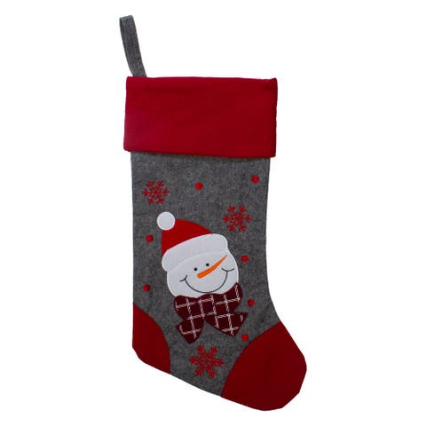 """19"""" Gray and Red Embroidered Snowman Christmas Stocking"""