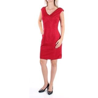 AMERICAN LIVING $89 Womens 1410 Red Glitter Sleeveless Sheath Dress 6 B+B