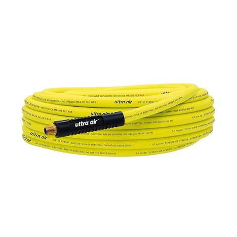 "Amflo 575-50A Ultra Air Yellow Hybrid Air Hose, 3/8"" x 50', 300 PSI"