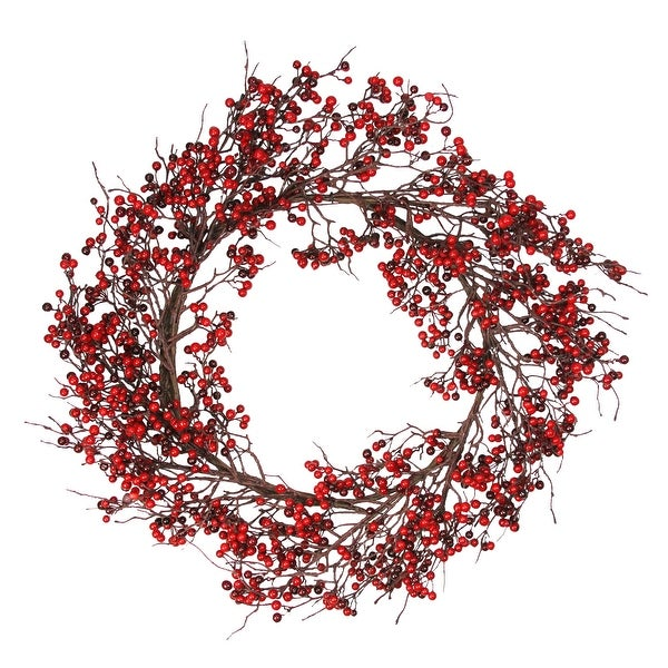 "24"" Autumn Harvest Red and Burgundy Currant Berry Artificial Wreath - Unlit"
