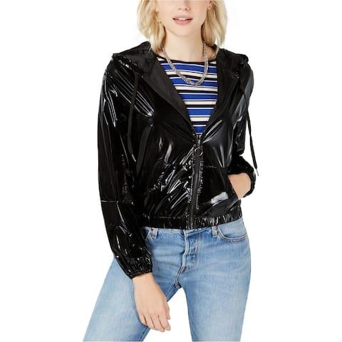 Material Girl Womens Zip-Up Windbreaker Jacket, Black, Large
