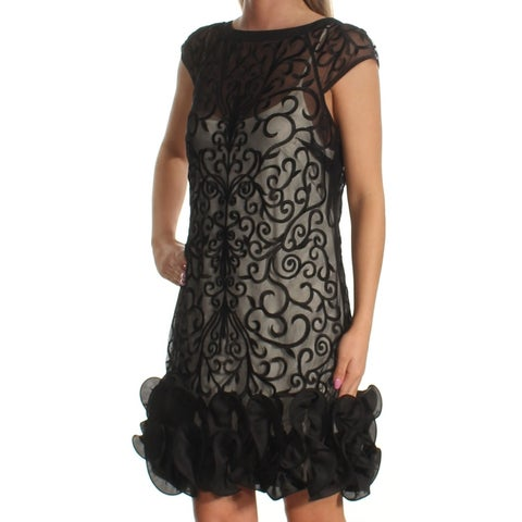 JESSICA SIMPSON Womens Black Ruffled Sheer Cap Sleeve Boat Neck Mini Shift Dress Size: 2