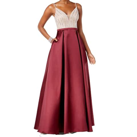 Xscape Women's Dress Burgundy Red Size 6 Embellished Mesh Ball Gown