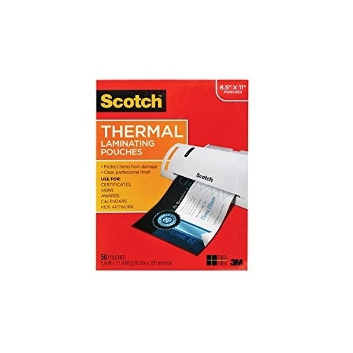 3M Tp3854-50 Thermal Pouches Letter-50-Pack 9X11in