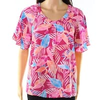 Pink Rose Purple Womens Size Small S Leaf-Print Pleat-Detail Blouse