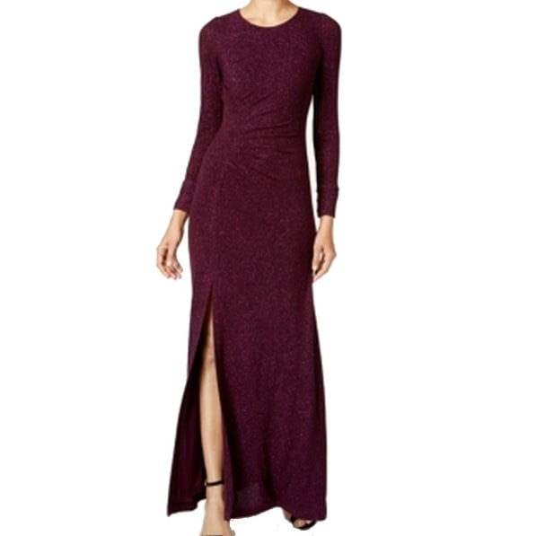 Calvin Klein NEW Purple Women's Size 8 Glitter Ruched Ball Gown Dress