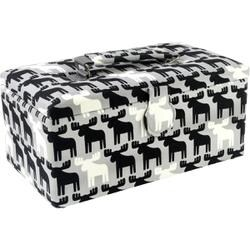 "11.5""X6.5""X5"" Black & White Moose Print - Sewing Basket Rectangle"