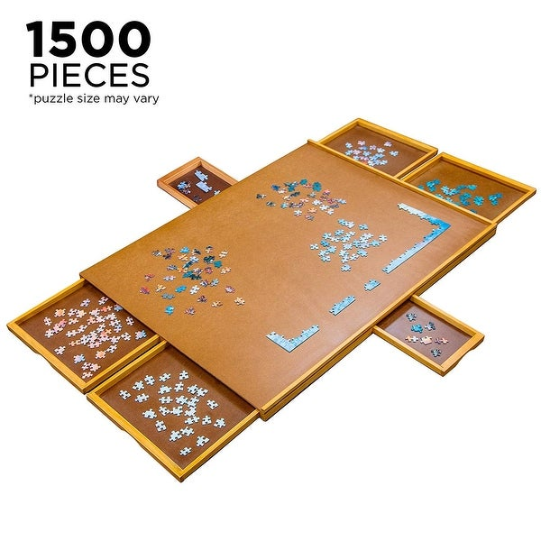 Jumbl 27 x 35 Wooden Jigsaw Puzzle Table Smooth Plateau Work Surface - Wood - 9' x 12'. Opens flyout.