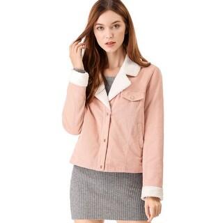 Women's Fleece Collar Corduroy Coat Winter Jacket - Pink