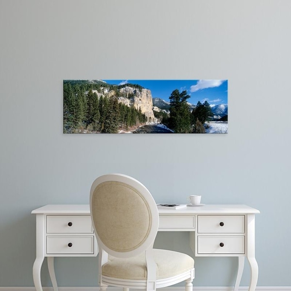 Easy Art Prints Panoramic Images's 'USA, Montana, Gallatin River, winter' Premium Canvas Art