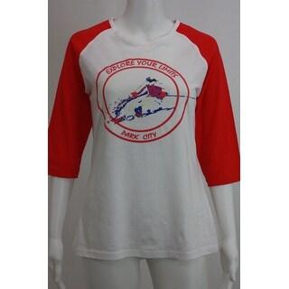Ski white/pink Raglan sleeve tees