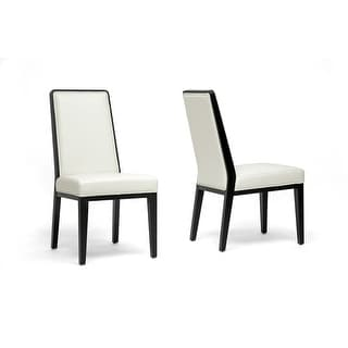 Theia Black Wood & Cream Leather Modern Dining Chair - 2 Chairs