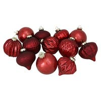 "12-Piece Red Assorted Finish Glass Ornament Set 4"" (100mm)"