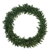 "48"" Pre-Lit Buffalo Fir Artificial Christmas Wreath - Warm White LED Lights - green"