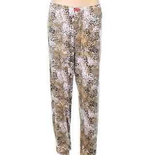 Ellen Tracy NEW Beige Womens Size Large L Animal Print Lounge Pants