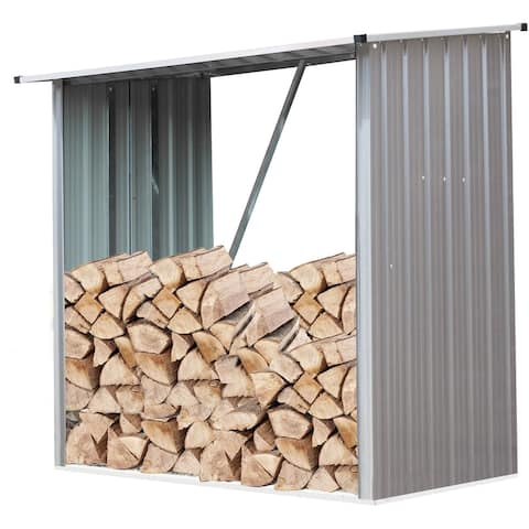 Indoor/Outdoor Galvanized Steel Woodshed Storage Rack Holds up to 55 Cu. Ft. of Stacked Firewood, Beige