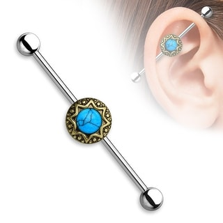 Turquoise Center Round Tribal Starburst Industrial Barbell - 14GA (Sold Ind.)