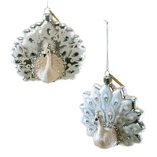 Pearly Peacocks Birds Christmas Holiday Ornaments Set of 2 Glass