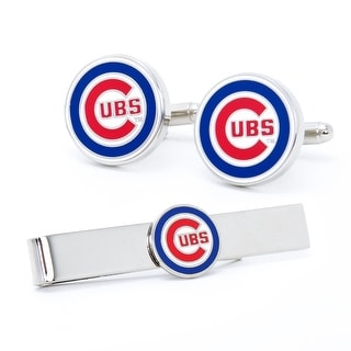Chicago Cubs Cufflinks and Tie Bar Gift Set - Silver