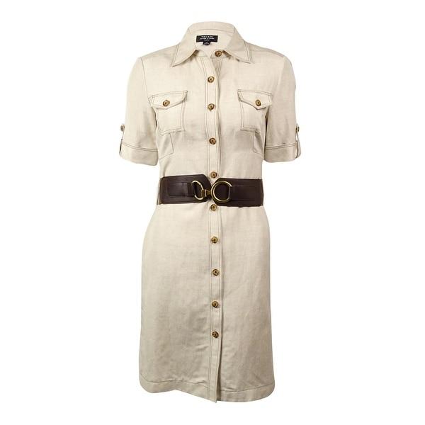 4cb9a41bf70aa Shop Tahari Women's Belted Linen-Blend Shirt Dress - Natural - 10 - Free  Shipping Today - Overstock - 15015847