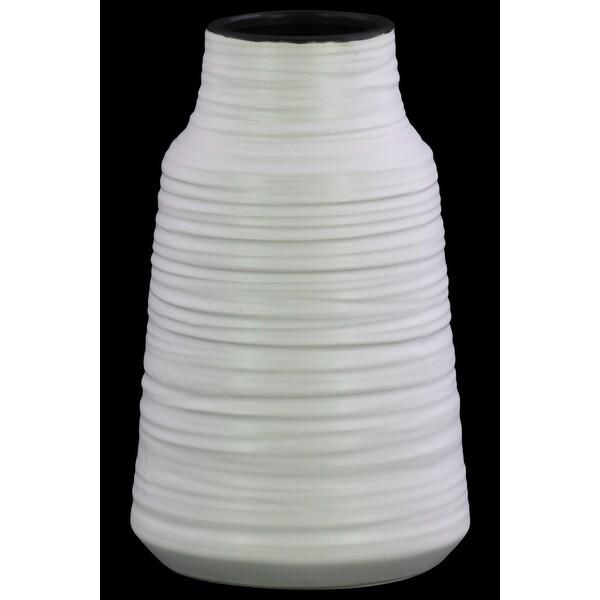 Round Ceramic Vase With Combed Design, Large, White