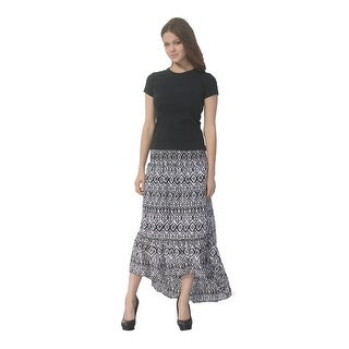Deep Blue Womens Black White Tribal Print Ruffle Hi-Low Cover-Up Skirt