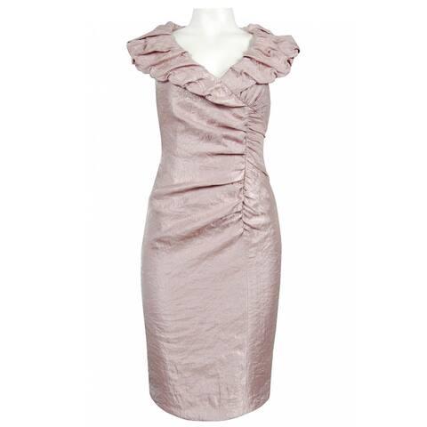 Adrianna Papell Pillow Collar Iridescent Satin Dress, Champagne, 16
