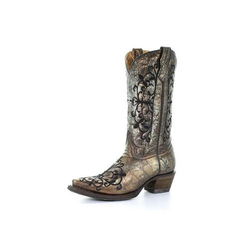 """Corral Western Boots Girls Cowboy 10"""" Shaft Pull On Bronze"""