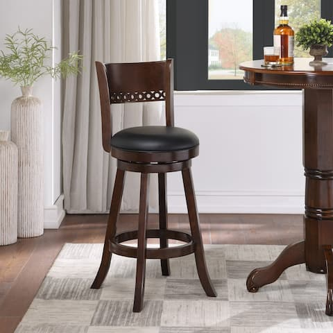 Wood Faux Leather Upholstered Swivel Stool Durham Collection