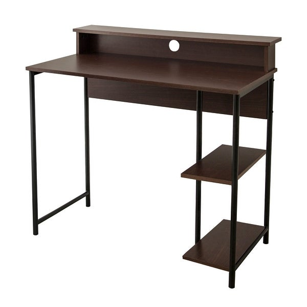 """Versanora - 35"""" Home Office Desk with Shelves. Opens flyout."""