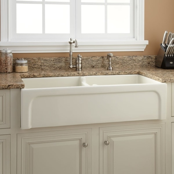 Risinger Sink >> Shop Signature Hardware 926906 39 Risinger 39 Double Basin Fireclay
