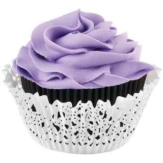 Doily Standard Baking Cup Kit-Black Inner Cup & White Outer Cup 24/Pkg - Black
