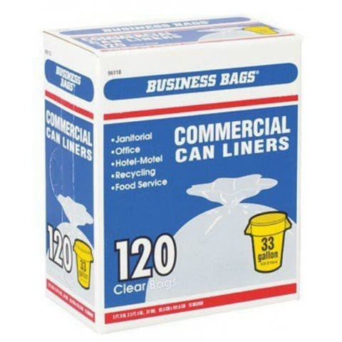 Berry Plastics 618632 Large Institutional Trash Bags, 33 Gallon, Clear, 120-Ct