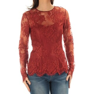 DKNY $249 Womens New 1519 Brown Lace Long Sleeve Crew Neck Casual Top S B+B