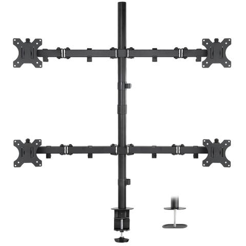 "Mount-It! Quad Monitor Mount, 4 Screen Desk Stand Fits 17""- 32"" Computer Screens, ADJ, Clamp & Grommet Base, VESA 75x75/100x100"